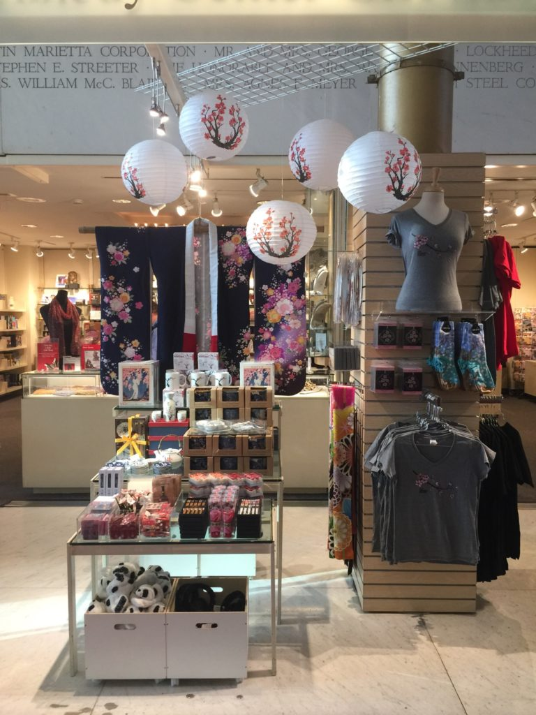 Gift Shop at Kennedy Center with Cherry Blossom Display