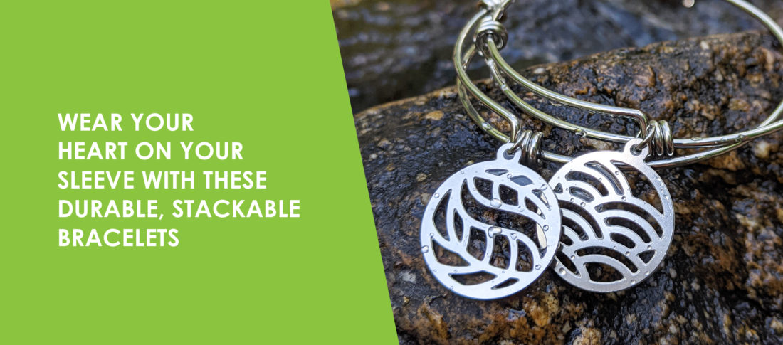 Wear your heart on your sleeve with these durable, stackable bracelets