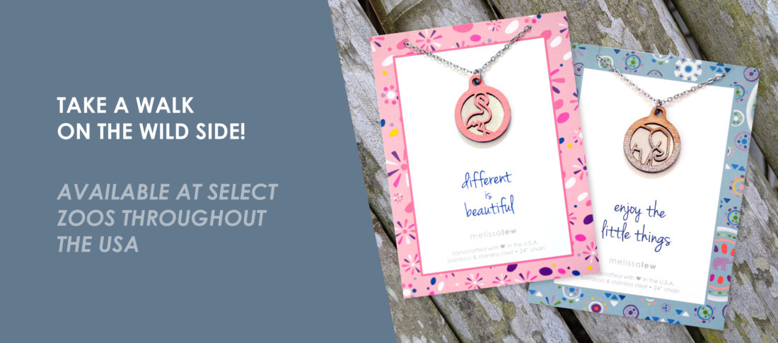 Take a walk on the wild side with these elephant and flamingo inspired necklaces - available at select zoos throughout the USA