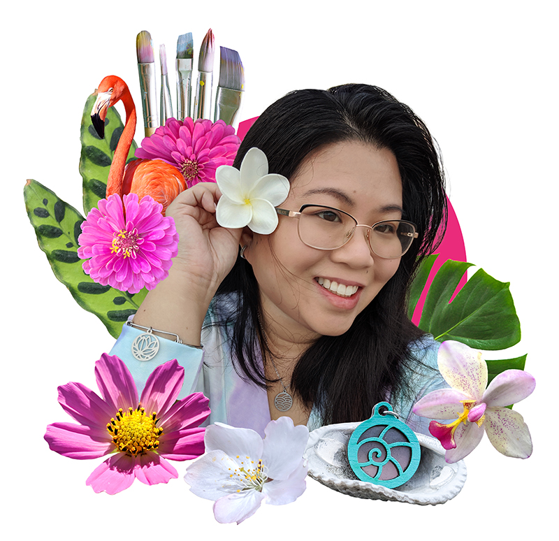 Photo of artist surrounded by flowers, seashells, a flamingo, and paint brushes