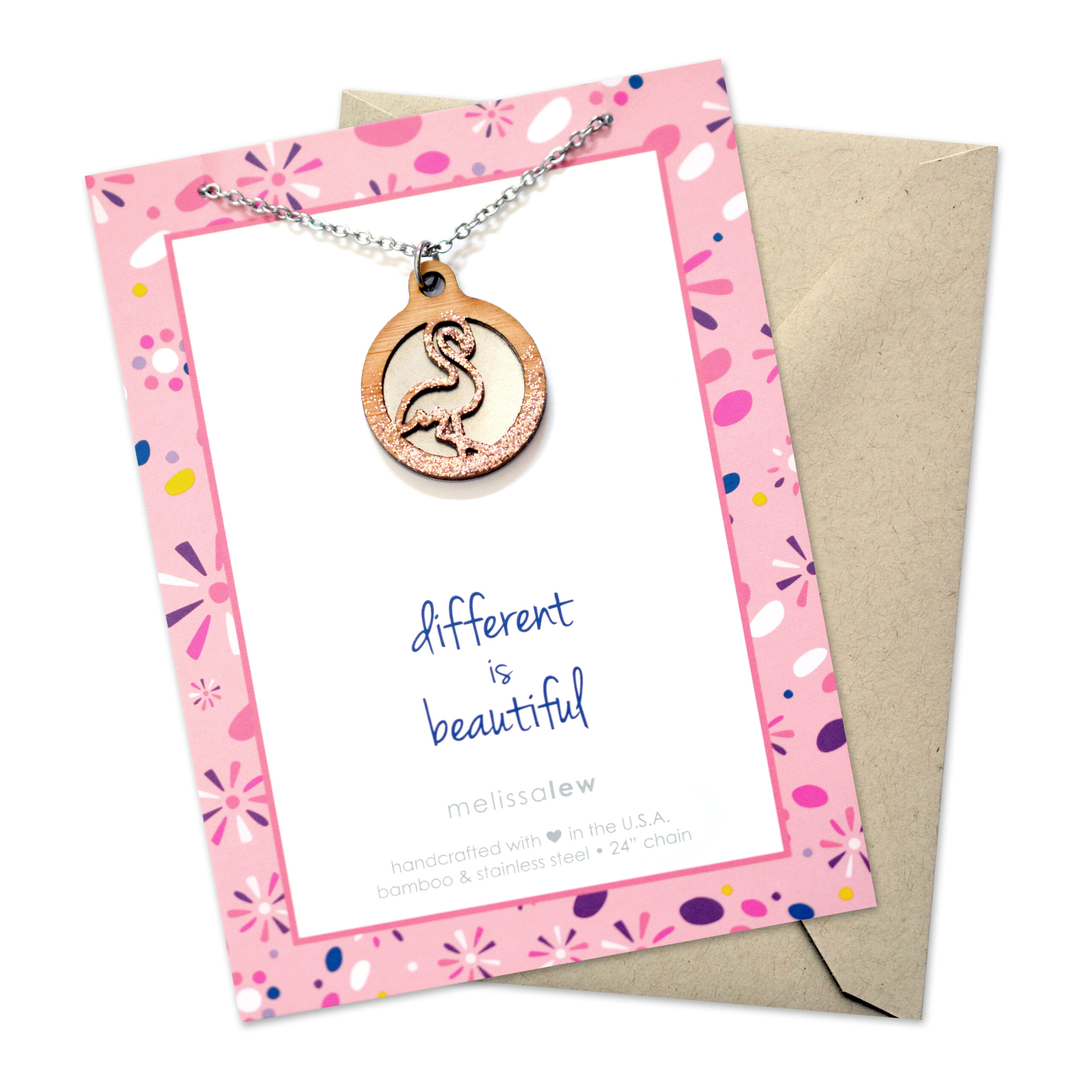 Rose gold glitter flamingo necklace made from bamboo and stainless steel