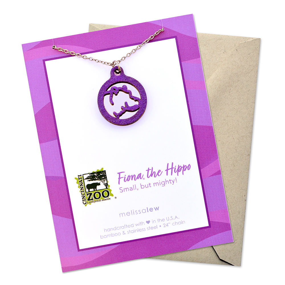 Fiona necklace made from bamboo and stainless steel in purple glitter